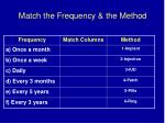 match the frequency the method