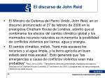 el discurso de john reid