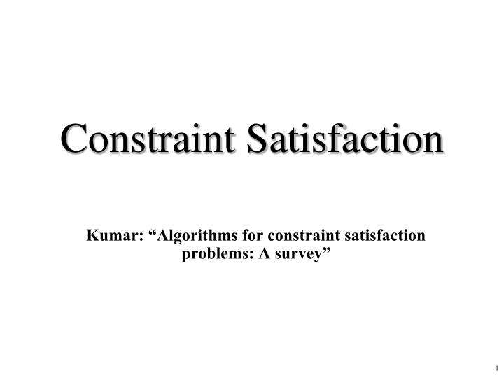 constraint satisfaction n.