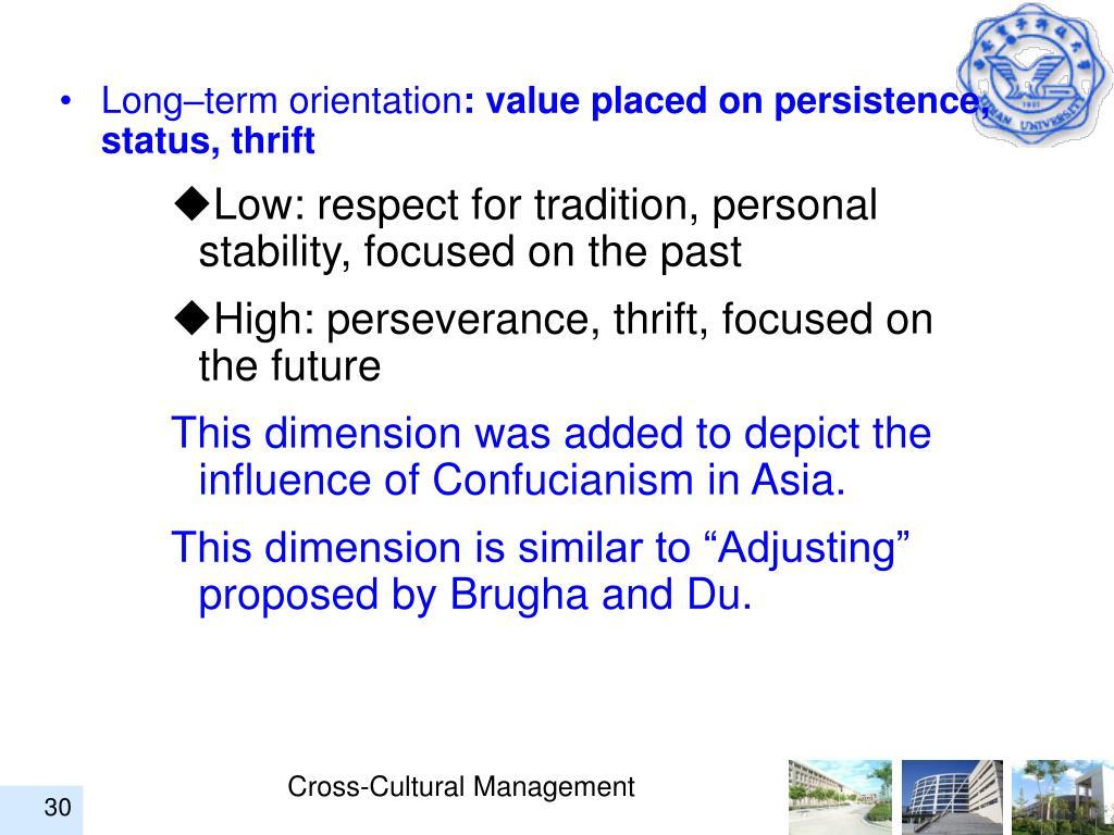 Long–term orientation