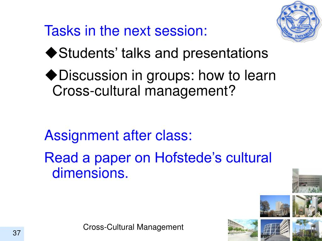 Tasks in the next session: