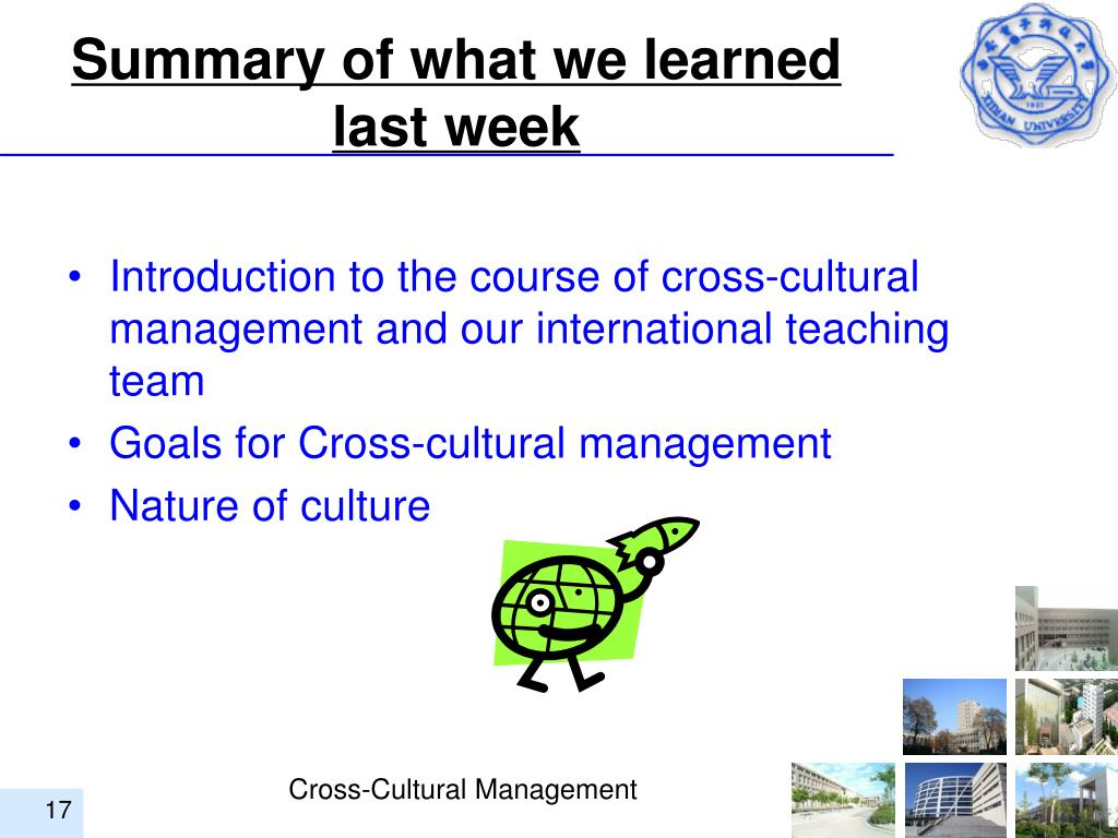 Summary of what we learned last week