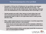 the historical perspective of the land bank