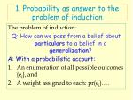 1 probability as answer to the problem of induction