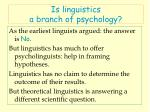 is linguistics a branch of psychology