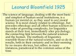 leonard bloomfield 1925