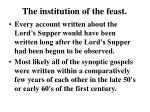 the institution of the feast