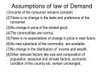 assumptions of law of demand