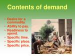 contents of demand
