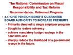 the national commission on fiscal responsibility and tax reform recommendation retirement programs