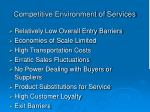 competitive environment of services