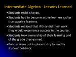 intermediate algebra lessons learned