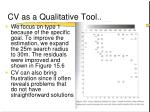 cv as a qualitative tool12