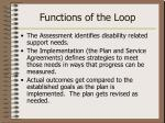 functions of the loop