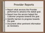 provider reports33
