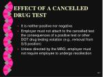effect of a cancelled drug test