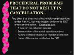 procedural problems that do not result in cancellation