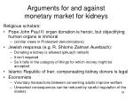 arguments for and against monetary market for kidneys