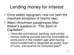 lending money for interest