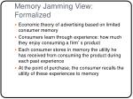 memory jamming view formalized