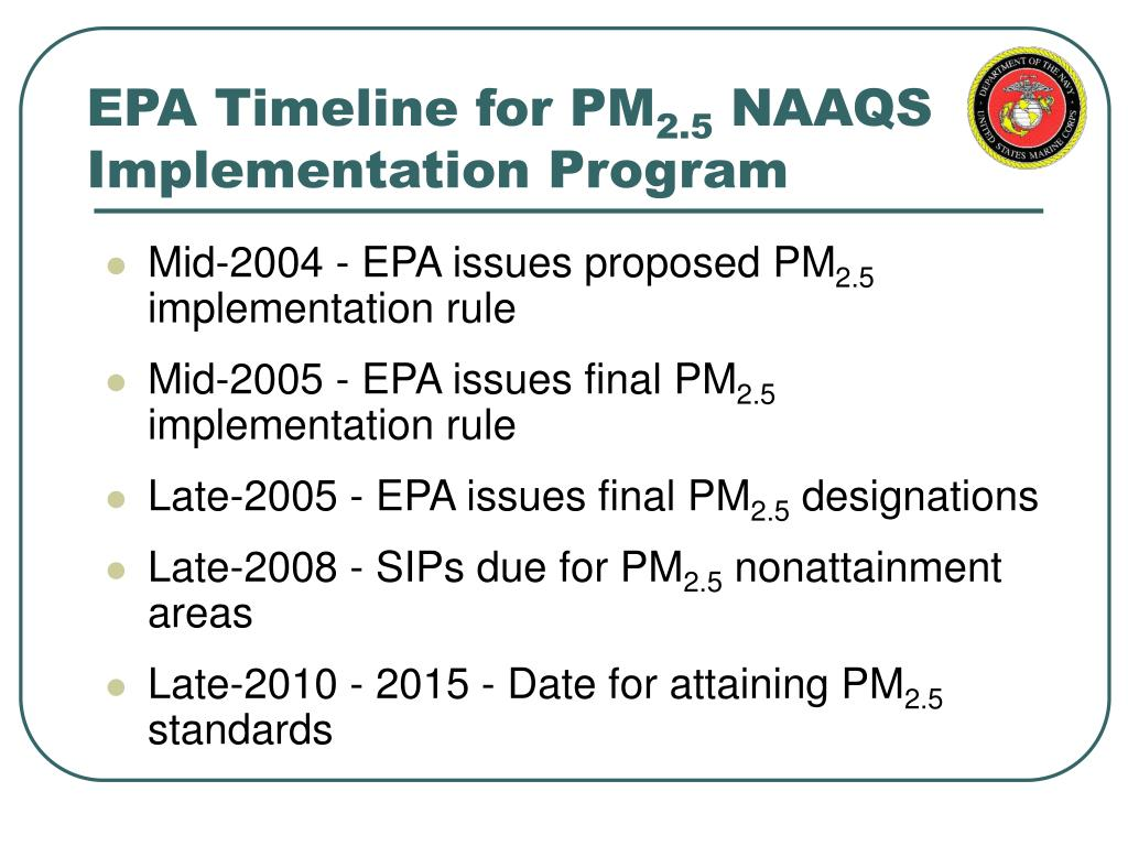 EPA Timeline for PM