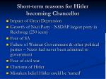short term reasons for hitler becoming chancellor