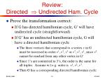 review directed undirected ham cycle10