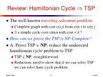 review hamiltonian cycle tsp