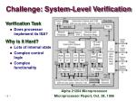 challenge system level verification