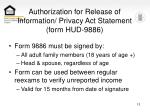 authorization for release of information privacy act statement form hud 9886