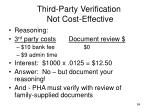 third party verification not cost effective84