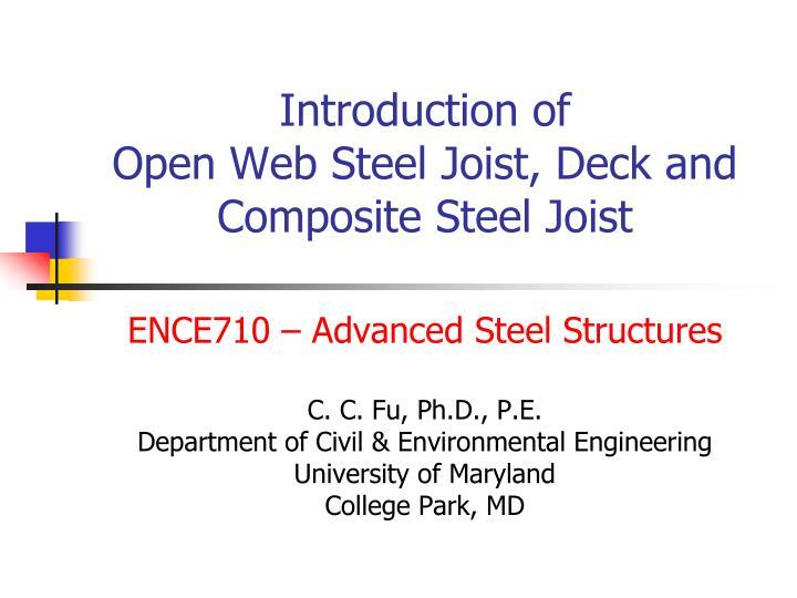 introduction of open web steel joist deck and composite steel joist n.