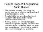 results stage 2 longitudinal audio diaries