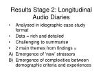 results stage 2 longitudinal audio diaries30