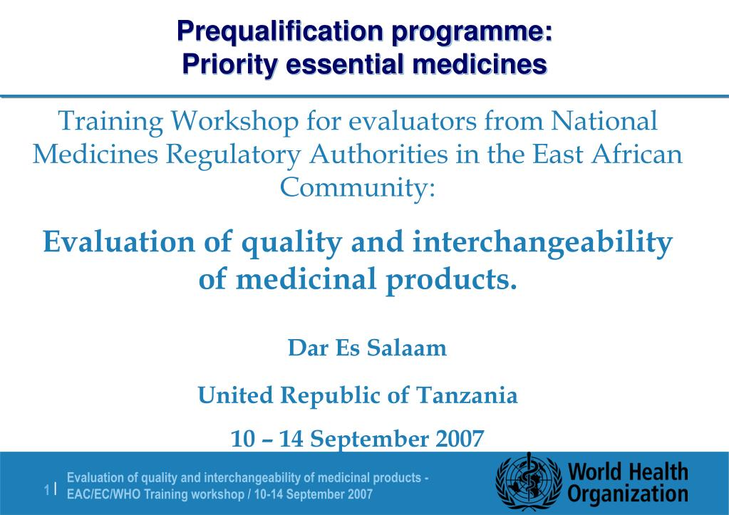 prequalification programme priority essential medicines l.