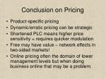conclusion on pricing