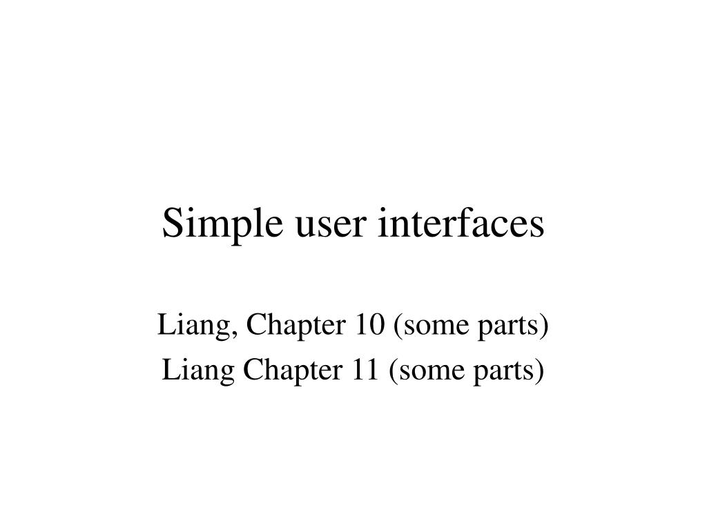 simple user interfaces l.