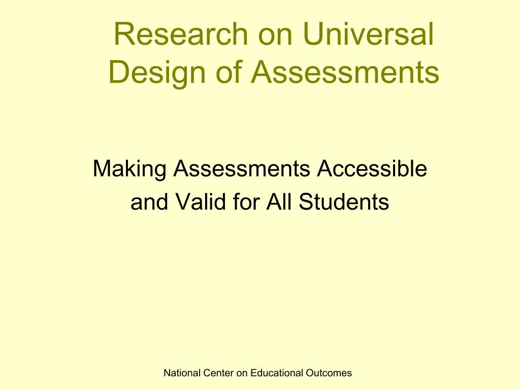research on universal design of assessments l.
