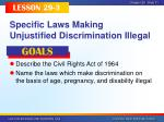 specific laws making unjustified discrimination illegal
