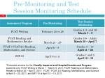 pre monitoring and test session monitoring schedule