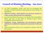 council of minister meeting jan 2001