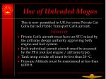 use of unleaded mogas