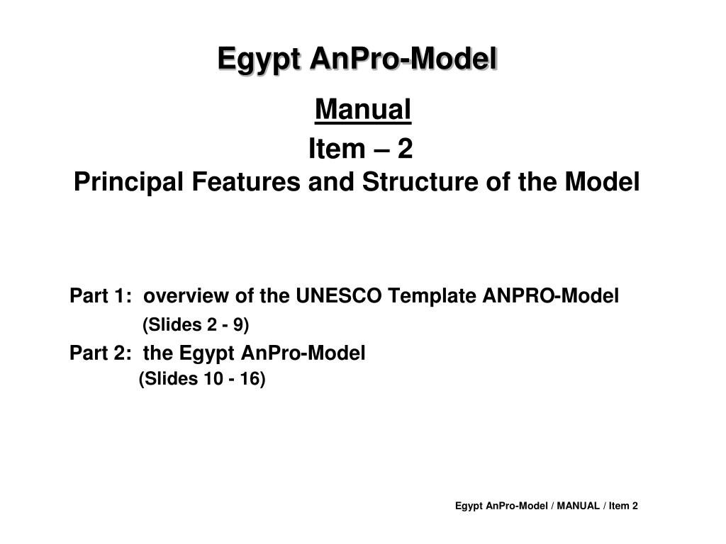 egypt anpro model manual item 2 principal features and structure of the model l.