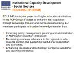 institutional capacity development social sectors edulink i ii 35m