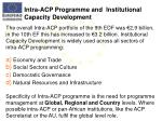 intra acp programme and institutional capacity development