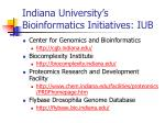 indiana university s bioinformatics initiatives iub