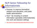 nlm senior fellowship for informationists