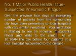 no 1 major public health issue suspected pneumonic plague