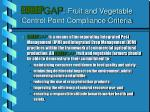eurep gap fruit and vegetable control point compliance criteria