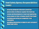 food safety agency responsibilities contd